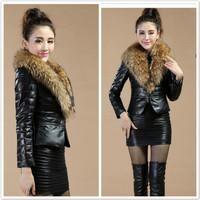 2015 Fashion super large raccoon fur sheepskin motorcycle genuine leather clothing female fur coat pu  leather jacket