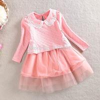 2015 Girls spring sweet lapel dress , kids girl clothes , 3-7YEARS , 5pcs/lot   WMX26