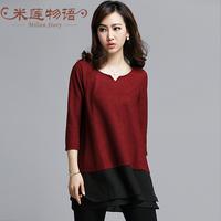 2015 new plus size women clothing club dresses red dress 2 piece set women  long sleeve black dress