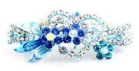 Free shipping, B429 Crystal girl hair Barrettes bow blue sexy rose flower rhinestone hairpins women hair jewelry Austrian style