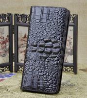 2015 New genuine leather wallets cool crocodile large capacity multi card holder wallet purse men wallet