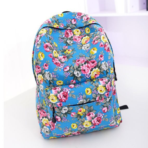 The new 2015 quarter selling backpack National roses canvas effect female bag girl,s flowers school bag Rural amorous travel bag(China (Mainland))