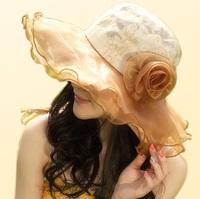 Fashion wholesale wide brim Lace silk flower sunhat travel hat beach hat cap travel accessories folded hat