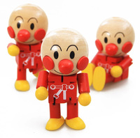 Free shiping  24pcs/lot Baby Toys Cheap Cartoon Wooden Dolls Funny Cute Anpanman baby Toy Figures wooden toy