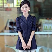 2015 new spring medium-long shirt female long-sleeve plus size print V-neck slim basic shirt