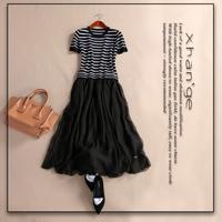 Free shipping! New arrive 2015 spring o-neck short-sleeve knitted stripe silk slim long dress f263238