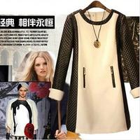 New 2015 fashion casual dress autumn winter dress high quality long sleeve leather sleeve korean black white splice women dress