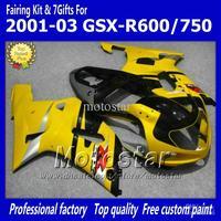7gifts yellow black bodywork fairings for SUZUKI GSXR 600 K1 2001 2002 2003 GSXR 750 01 02 03  fairing set dd41