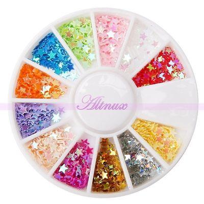 Bling Colorful Mini Star Flake Glitters Nail Art UV Acrylic Tips Manicure Decor(China (Mainland))