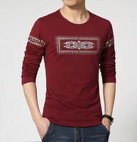 Fashion Print Men's T Shirts Spring Full Sleeve Tops & Tees Cotton Tshirt Slim Camiseta Casual Men Clothes Plus Size M- 3XL