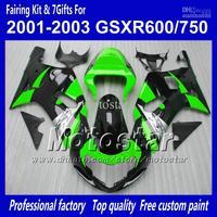 Body work fairings for SUZUKI GSXR 600 K1 2001 2002 2003 GSXR 750 01 02 03  glossy black green fairing set QQ73