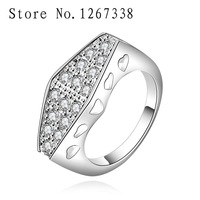R547-8 square rhinestone ring Silver plated new design finger ring for lady 925 sterling silver ring rhinestone free shipping