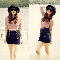 New fashion Women 2015 Hot New fashion Women Vintage High Waist Jeans Hole Short Jeans Denim Shorts Free shipping&wholesale