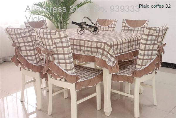 Checkered dining table cloth and chair cover set, cotton checkered tablecloths and chair covers, in stock,(China (Mainland))