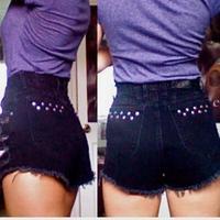 New fashion casual Women Vintage High Waist Jeans Hole Short Jeans bleak Denim Shorts Free shipping&wholesale
