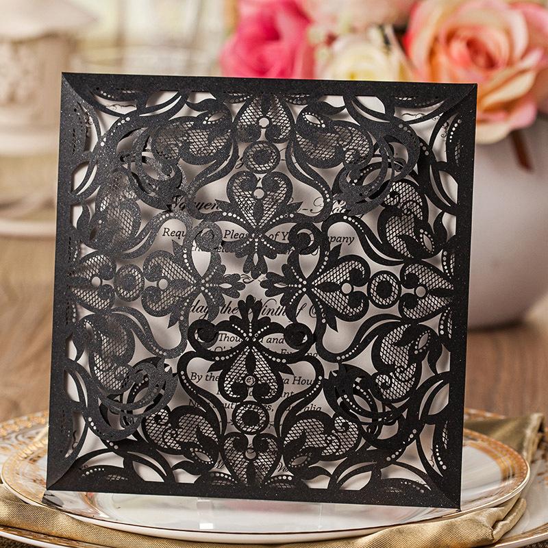 Convites de casamento preto papel interno branco do convite do casamento de corte a Laser folha flores oco cartões de casamento(China (Mainland))