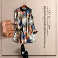 Free shipping! European 2015 spring abstract turn-down collar long-sleeve slim silk one-piece dress c254402
