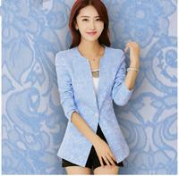 S-2XL New 2015 Spring Women Brand Slim Jacquard long-sleeve Ol Blaze ,Singel Button Ladies Suit outerwear  BLACK/blue/Pink/white