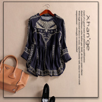 Free shipping! 2015 spring plaid embroidery three quarter sleeve o-neck high waist a top shirt c246143,women's blouse