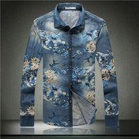 M-5XL Large size Men's long-sleeved denim shirt boutique men's casual denim flower print shirt men's shirts