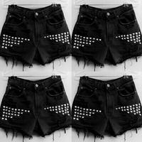 Hot 2015 new fashion casual bleak selling fashion jean women black shorts sheath high quality shorts with Rivet