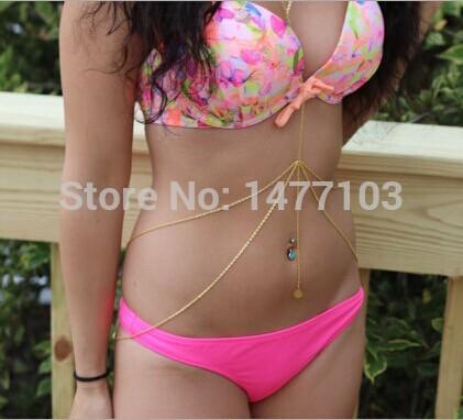 Fashion Sexy Double Layers Gold Silver Body Chain Summer Beach Bikini Body Harness Jewelry Festival Accessory