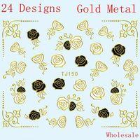 Wholesale 24 Designs Shiny Black White Nail Sticker Metallic Gold Flower Decal Self Adhesive 100pcs/lot