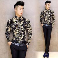 The new trend of men's shirts men's Spring nightclub personality patterns long-sleeved Flower shirt Slim men shirt