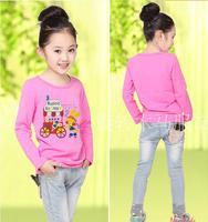 2015 New Spring Children T-shirts Cotton Long-Sleeve Basic T-shirt Children Cartoon T-shirt Long-Sleeve Shirt