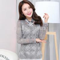 M-XXL size fashion women clothing 2015 korean style plus size long sleeve women crochet lace shirt free shipping