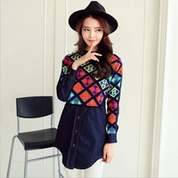 2015 spring new women's fashion round neck and long sections stitching national wind shirt female long-sleeved denim shirt