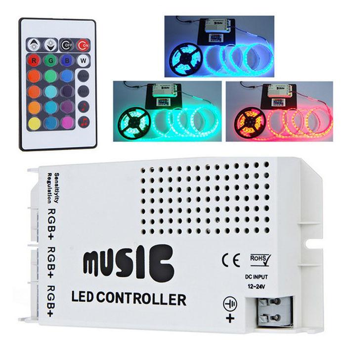 12-24V 24 Keys Wireless IR Remote Control LED Music Sound Control RGB led Dimmer Controller for RGB LED Strips Hgih Quanlity(China (Mainland))