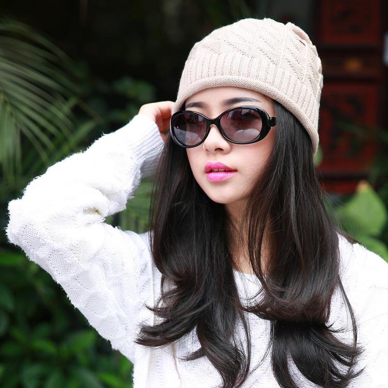 Brand 2015 Women Triangular diamond pattern Warm Beanie Hat winter Beanies fashion Knitted hat Free Shipping A-4(China (Mainland))