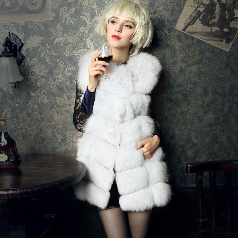 New Women Natural Fox Fur Vest Lady Genuine Fur Coats Real Fur Jackets Women Fashion Luxury Slim Waistcoat Gilets(China (Mainland))