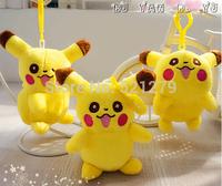 Free Shipping 12pcs/lot 11cm Pokemon Pichu Pikachu Plush Keychain Pendant Phone Strap Stuffed Dolls