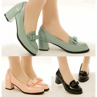 Hot Sales Women Dress Shoes Patent Leather Bowtie Chunky Heels Women High Heels Office Ladies Shoes Wholesales