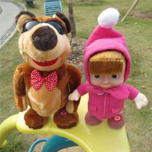 24-36CM  Masha and Bear Figure Toys Russian Dancing Walking Talking Singing Doll Birthday Gift  Masha e Orso Bonecas Baby Alive(China (Mainland))