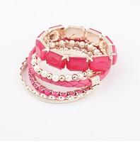 2015 New Arrival Women Strand Bracelets Trendy Zinc Alloy Acrylic Multilayer Link Chain Bracelets Bangeles
