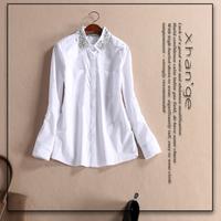 Free shipping! 2015 spring turn-down collar long-sleeve 100% cotton white shirt top d254690