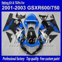 Body work fairings for SUZUKI GSXR 600 K1 2001 2002 2003 GSXR 750 01 02 03  glossy black dark blue fairing set QQ69