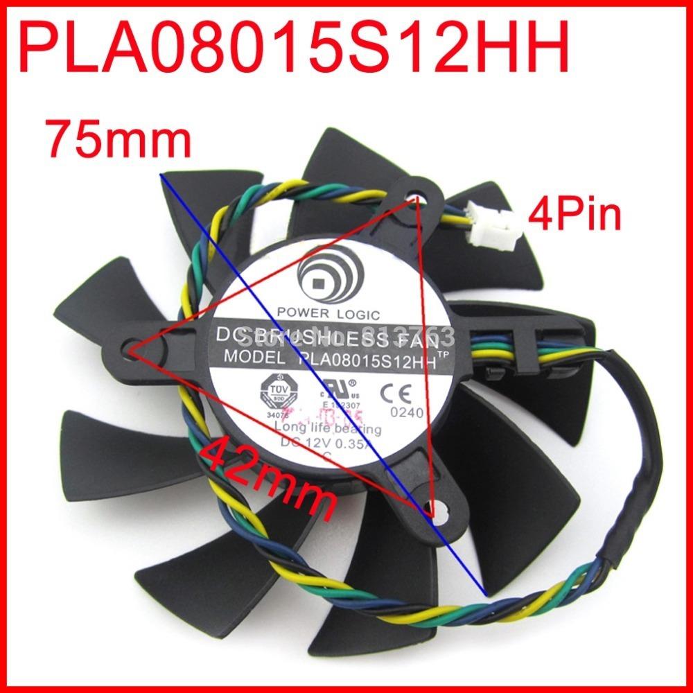 Power logic pla08015s12hh 12 v 0.35a 75mm 42x42x42mm msi R4770 r6850 scheda grafica ventola di raffreddamento pin 4 wire  (China (Mainland))