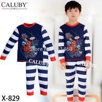 2015 boys long sleeve spiderman clothes set / baby sleepwear / kids clothing set X-829