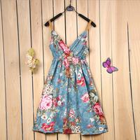 9 Color Sexy Mini Dresses Women 2015 Summer Fashion Bohemian Casual Elastic High Waist V Neck Spaghetti Strap Flower Print Dress