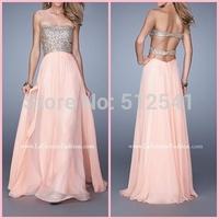 2015 Strapless Sexy Shining Crystal and Keyhole Back Floor Length Chiffon Prom Dresses Sexy Evening Dress vestido de festa longo