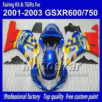 Body work fairings for SUZUKI GSXR 600 K1 2001 2002 2003 GSXR 750 01 02 03  blue yellow Movistar fairing set QQ57