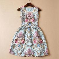 Women dress 2015 European and American women new Hitz Slim embroidered high waist dress Slim Lady retro dresses