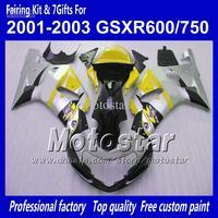 Body work fairings for SUZUKI GSXR 600 K1 2001 2002 2003 GSXR 750 01 02 03  glossy silver black yellow ABS fairing QQ86