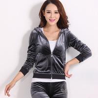 Sports Clothes Sets Women Tracksuits Velvet Hoody Sweatshirt Fashion Leisure Sport Suit Women Free Shipping