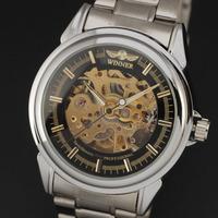 Original Winner Brand 2015 New Men Skeleton Full Steel Band  Auto-self wind Mechanical Luxury  Wristwatch Casual Watch Relogio