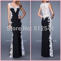 2015 Sweetheart Appliqued Floor Length White Lace and Black Chiffon Prom Dress Hollow Back Evening Dress vestido de festa longo